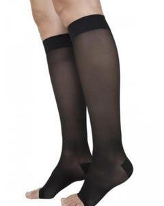 Sigvaris 20-30 mmHg Open Toe Black Large Long Eversheer 780 Calf For Women - 782CLLO99