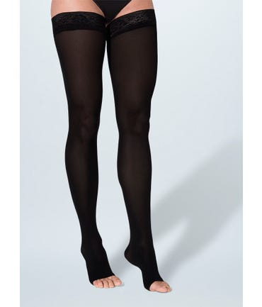 Sigvaris 843 Soft Opaque Thigh Hi W/Silicone Lace Top 30-40mmHg
