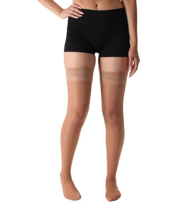Absolute Support™ Sheer Compression Stockings - Light Graduated Support 8-15mmHg, Thigh High with Lace Grip Top, 1 Pair - Made in the USA - A108