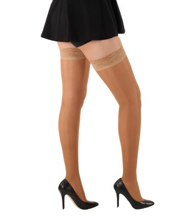 Absolute Support™ Sheer Compression Thigh High with Lace Border, Firm Support 20-30mmHg Closed Toe