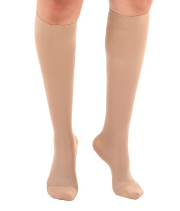 Absolute Support™ Microfiber Opaque Compression Knee Highs - Firm Support – Open & Closed Toe