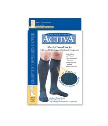 Activa H24 Patterned Men's Casual Socks 15-20mmHg Closed Toe