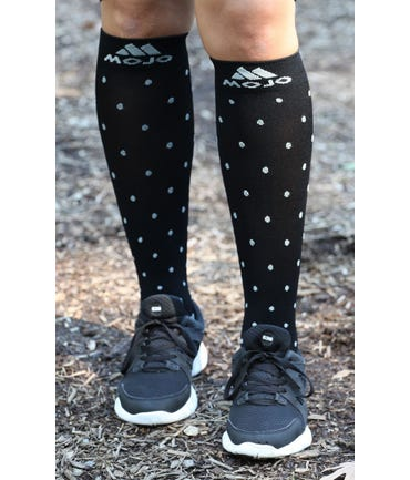 Mojo Compression Socks™ Black Polka, Gray Polka, Gray Pin Stripe - Firm Support 20-30mmHg